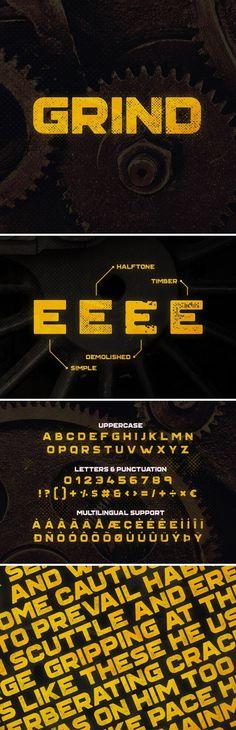 Grind #Typeface - Grunge #Decorative Download here: https://graphicriver.net/item/grind-typeface/17785192?ref=alena994