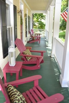 Love the rocking Adirondack chairs and tables.