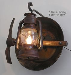DX804 - Rustic Lantern Light Fixture with Lantern, Miners' Pick, and Gold Pan
