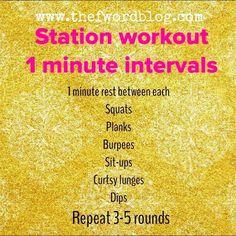 Station Workout-1 minute intervals
