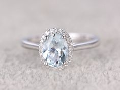 Diligent New Hot Solid 14k White Gold Genuine Natural Aquamarine Engagement Diamond Ring Jewelry & Watches Bridal & Wedding Party Jewelry