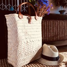 french market basket with leather straps - rattan basket bag / reed tote bag Rattan Basket, Basket Bag, French Baskets, Market Baskets, Shop Around, Brass Buckle, Stitching Leather, Leather Bags, You Bag