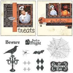 """Close to My Heart My Acrylix Stamp Set All Hallows Eve  Set of 9  Recommended My Acrylix® Blocks:  1"""" × 3½"""" (Y1002), 2"""" × 2"""" (Y1003), 3"""" × 3"""" (Y1006)    Stamp images outlined in red coordinate with the Cricut® Art Philosophy collection (Z1686).    $13.95"""