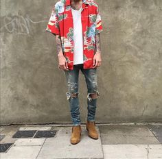 Warm summer day and you're looking for an outfit? Look right here outfit by by stylesbynico Urban Fashion, Look Fashion, Mens Fashion, Fashion Outfits, Tomboy Fashion, Chelsea Boots Outfit, Gucci, Korean Street Fashion, Men Looks