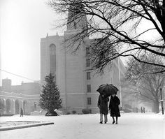 On December 28, 1960, a few people ventured out, despite snow, near Marsh Plaza.