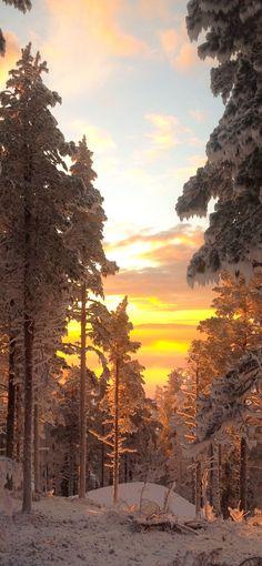 Auringonlasku Levillä. Sunset in Lapland Finland, Levi Ski Resort