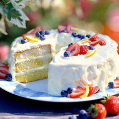 Lemon-Cream Dessert Cake ~ Start with a cake mix to make this light and citrusy creation layered with lemony cream cheese frosting.