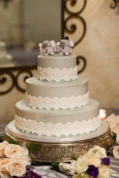 Shades of purple and gray made this wedding elegant and fun. The little elephant cake toppers made the cutest statement!