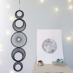 Large Moon Phase Wall Hanging MoonPhase Wall by MatriartBoutique