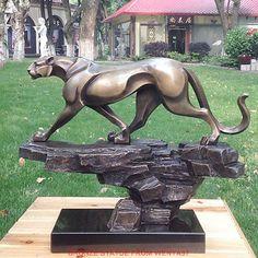 Art Deco Sculpture Money Leopard Bronze Statue