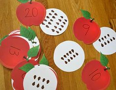 This activity allows the children to practice matching quantities with numerals.  This is a very important relationship that the students must understand before leaving Kindergarten MA.K.K.CC.4 - [Standard] - Understand the relationship between numbers and quantities; connect counting to cardinality.  --Marie