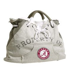 """NCAA University of Alabama Hoodie Tote by Pro-FAN-ity by Littlearth. $25.57. Features Distressed """"PROPERTY OF"""" and Team Logo. Officially Licensed. Contrasting Heather Gray on Bottom and Handles. Sturdy Magnetic Closure and Tied Drawstrings. Kangaroo Front Pocket and Two Internal Patch Pockets. Pro-FAN-ity by Littlearth offers you the authentic feel of your favorite sweatshirt in their Officially Licensed Hoodie Tote. These purses take the authentic look and feel of..."""