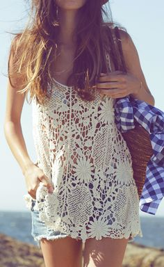 Lace beach top.