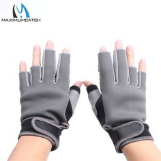 Maximumcatch 1 Pair Half-Finger Elastic Neoprene Fishing Gloves Waterproof Anti-Slip Fishing Gloves Black & Grey Color