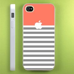 Coral Grey Stripe Unique iPhone 5 Case iPhone 4 4s by basiostore