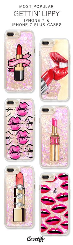 Most Popular Gettin' Lippy iPhone 7 Cases & iPhone 7 Plus Cases. More liquid glitter iPhone case here > https://www.casetify.com/en_US/collections/iphone-7-glitter-cases#/?vc=dimcRr1Ygp