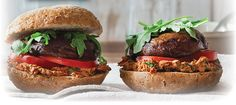 Delicious Portobello Mushroom burgers from The Eat-Clean Diet Vegetarian Cookbook use gluten free bread