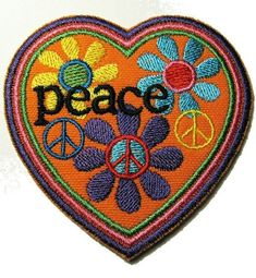Peace Patch - Embroidered Iron-On Patch - Heart, Flowers, Peace Sign Patch - Hippie Patch - Flower Child - Retro Style Jeans Patch Hippie Peace, Happy Hippie, Peace Love Happiness, Peace And Love, Hippie Style, Hippie Boho, Bohemian, Peace Fingers, Give Peace A Chance
