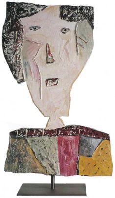 """Eliane Larus: """"Portrait d'Angela"""" - bois découpé peint recto/verso - 43 x 27 cm - 1993"""