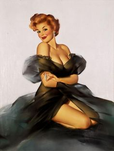 """Red Head with Black Negligee"" - Edward Runci - The Great American Pinup"