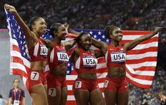 the women, relay team, gold medal, allyson felix, sport