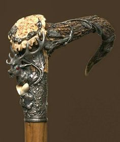 Wooden Walking Canes, Walking Sticks And Canes, Cannes, Cane Handles, Cane Stick, Arm Armor, Fantasy Costumes, Walk This Way, Wood Carving
