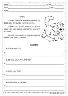 """Atividade de interpretação de texto, proposta a alunos do primeiro ou segundo ano do ensino fundamental, utilizando o texto """"Lupita""""."""