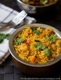 Learning-to-cook: Prawn Biryani using coconut milk | Prawn Recipes | Biryani Recipes | Sunday Special Recipes