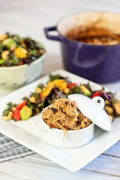 Coconut Pulled Turkey and Massaged Kale Salad Primal Recipes, Real Food Recipes, Healthy Recipes, Coconut Pulling, Massaged Kale Salad, Recipe Using Chicken, Clean Eating Recipes, Autoimmune Paleo, Paleo Dinner