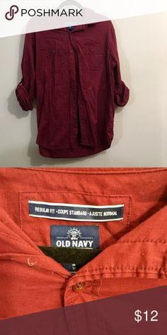 Old Navy Casual Button Down Shirt Maroon button down with adjustable sleeves. Good condition. Regular Fit. Old Navy Shirts Casual Button Down Shirts