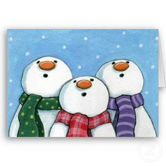 "This is picture from a card - not instructional. However, I like the look of awe on the snowmen's faces. I can image them saying ""ahhh...look it is snowing"" repinned by Charlotte's Clips"