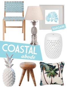 Squeezed Daily-Tropical Living: Tropical inspired mood boards you can create yourself! Coastal Furniture, Home Decor Furniture, Cane Furniture, Coastal Style, Coastal Decor, Coastal Living Rooms, Nautical Home, Printed Cushions, Tropical Decor