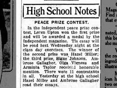Miller, Hazel: HS Peace Prize Contest