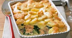 Salmon, spinach and potato bake - filling, budget-friendly recipe that will feed four generously – from Delicious magazine Healthy Salmon Recipes, Fish Recipes, Baking Recipes, Uk Recipes, Budget Recipes, Recipes Dinner, Salmon Recipe Pan, Salmon Potato, Lemon Salmon
