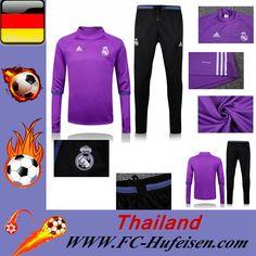 Schönsten Billige Trainingsanzug Set Fussball Real Madrid FC Halsband Lila + Hose Schwarz Saison 16 17 18 Günstig Shops Online