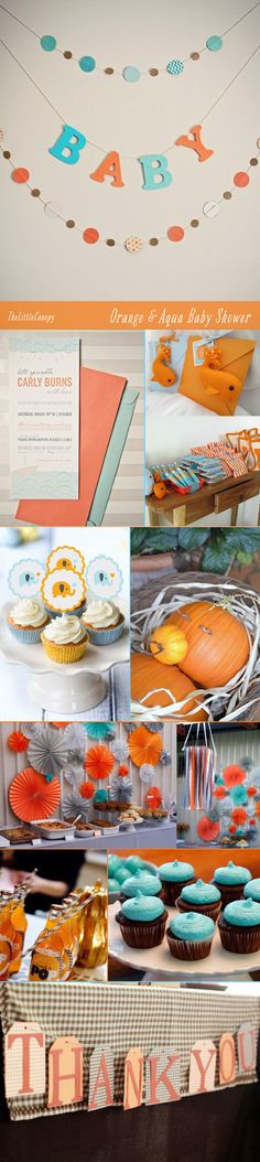 Orange and Aqua Fall Baby Shower Ideas - The Alison Show