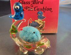 Vintage Glass Bird Pin Cushion in Box on Etsy, $10.00