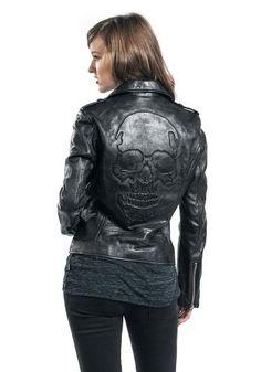 Skull Leather Jacket Black Premium by EMP
