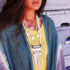 Wood Necklace with Fringe & Shells