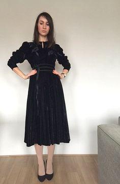 Louis Feraud Paris Dress Black Velvet Dress by woolpleasure