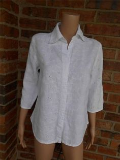JOHNNY WAS Collection Eyelet Blouse Size M Women Shirt Top White #JohnnyWas #Blouse #Casual