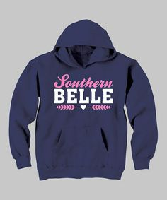 Take a look at this Navy 'Southern Belle' Hoodie - Toddler & Girls by Country Casuals on #zulily today!