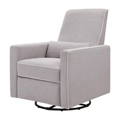 DaVinci Piper Upholstered Recliner and Swivel Glider Grey with Cream Piping