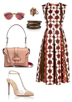 A fashion look from February 2018 featuring red sleeveless dress, leather pumps and beige purse. Dressy Outfits, Dope Outfits, Stylish Outfits, Fashion Outfits, Womens Fashion, Capsule Wardrobe Women, Christian Dior, Christian Louboutin, Meeting Outfit