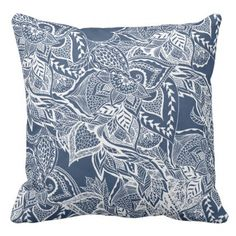 #Modern navy peony white hand drawn floral watercol outdoor pillow - #deco #gifts