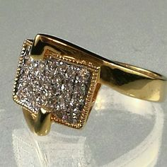 gold Belt Buckle Cocktail Ring Cubic Zirconia Sizes 5, 9 USA Seller #Cocktail