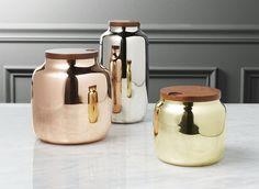 Modern Kitchen Jars 3-piece coltrane smoke grey canisters | dinning :::: כלים נאים