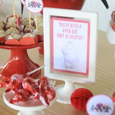 Lollipops at a Big Hero 6 birthday party! See more party planning ideas at CatchMyParty.com!