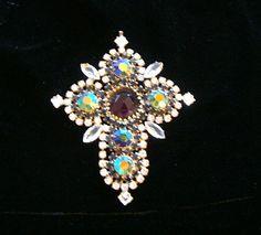 Vintage Prong Set Czech Crystal LARGE Cross by SofiasCobwebMuseum
