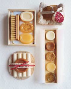 display your handmade soaps and candles in natural wood boxes and neutral-colored ribbons for a spa effect.